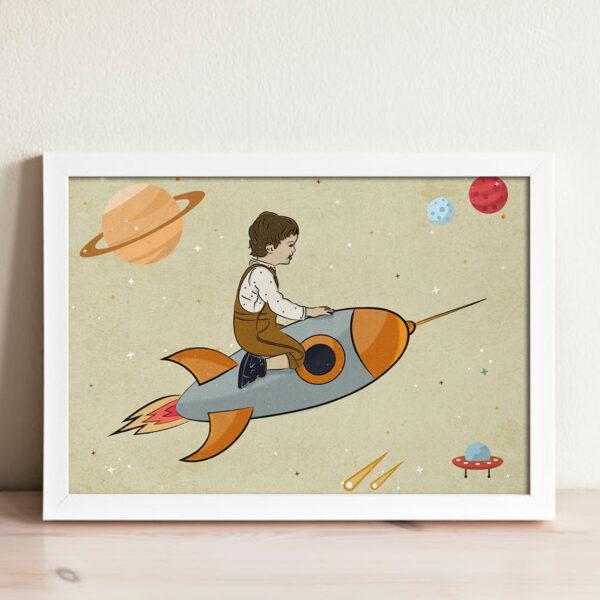 ציור נדב על טיל בחלל