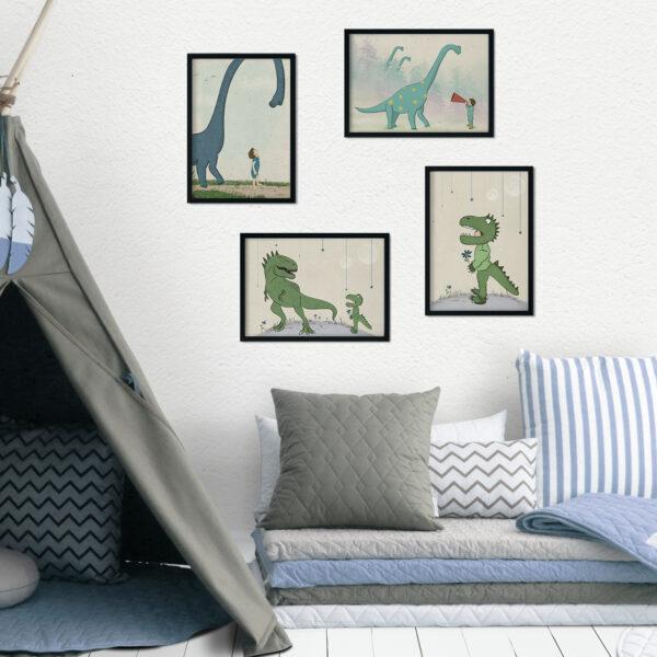 ארבע ציורי דינוזאורים גודל 30/40 ס״מ