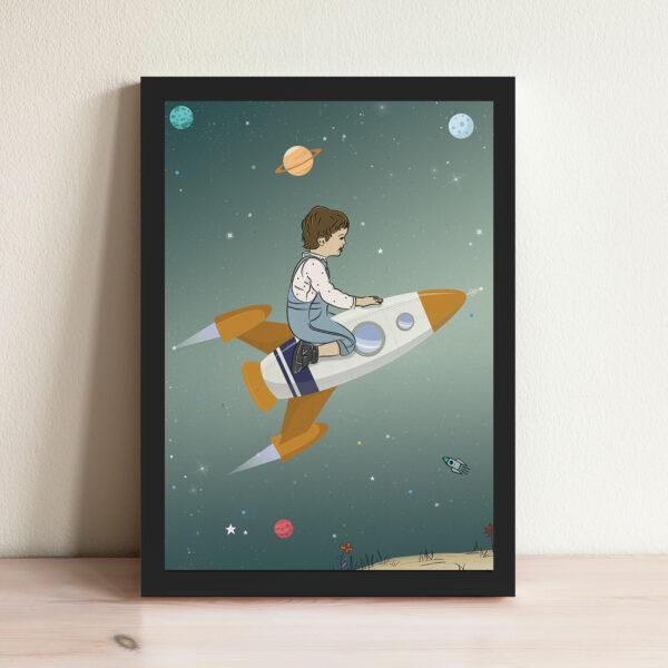 סט מסע אל החלל ירוק עם מסגרת