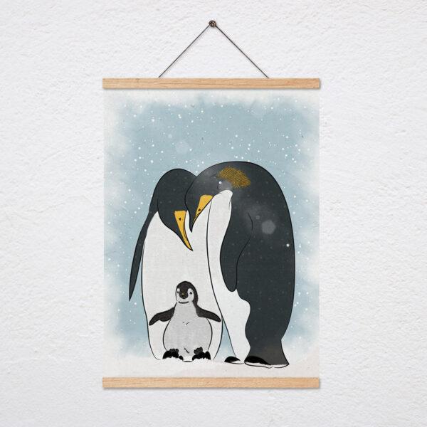 ציור פנגווין עם מתלה