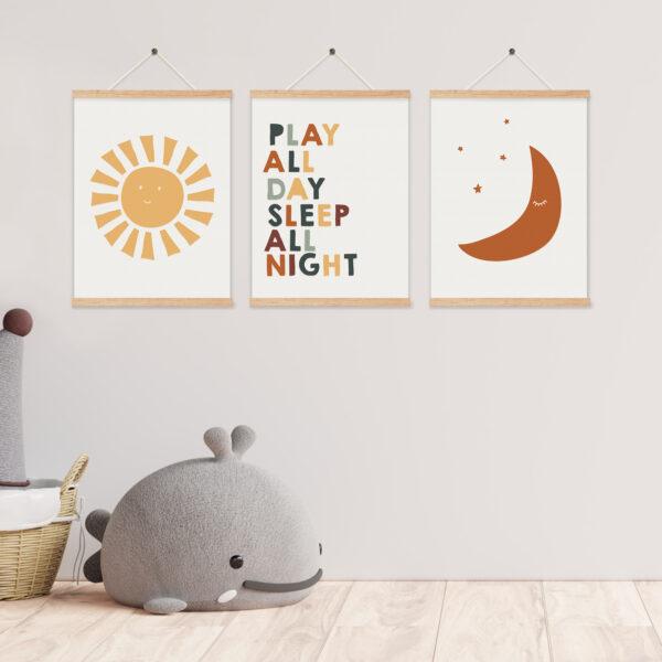 סט תמונות לחדר ילדים שמש וירח