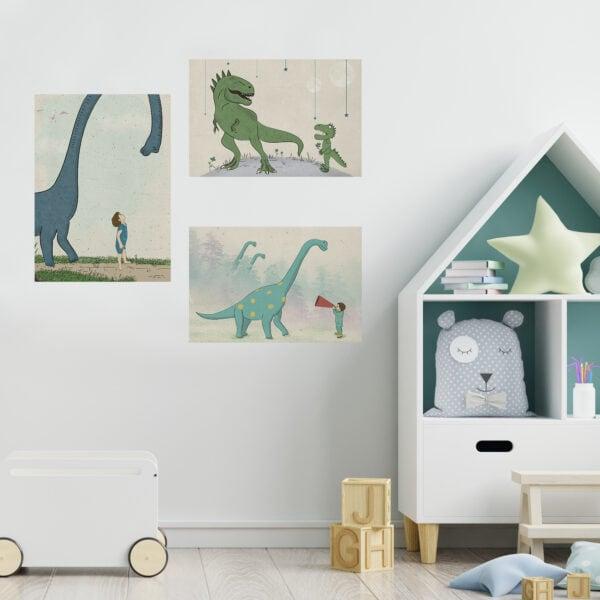 שלוש תמונות חלל לחדרי ילדים דינוזאורים a3