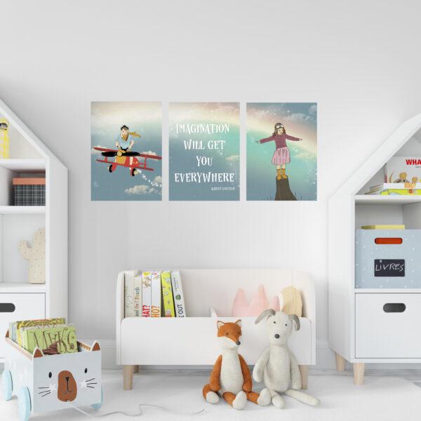 סט תמונות לחדר משותף גודל a3