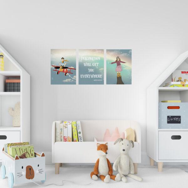 סט תמונות לחדר משותף גודל a4