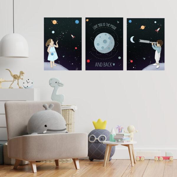 שלוש תמונות חלל לחדרי ילדים a3