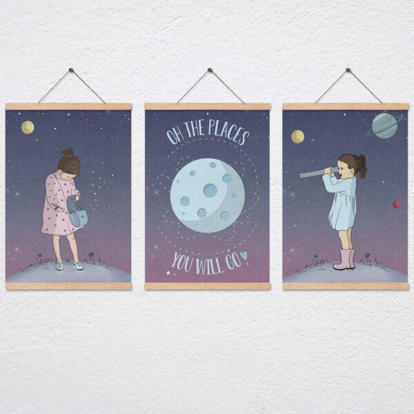 סט תמונות חלל לחדר בנות