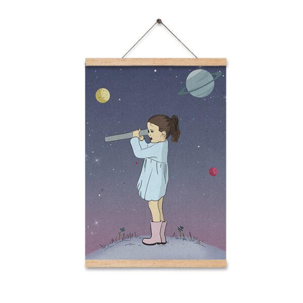 תמונה לחדר ילדים ילדה עם טלסקופ