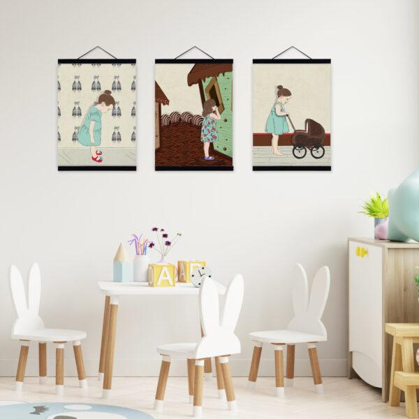 שלישית תמונות לעיצוב חדרי ילדים – משחקים של ילדות