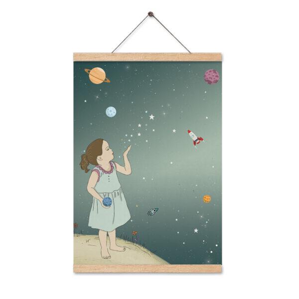 תמונה לחדר ילדים ילדה בחלל