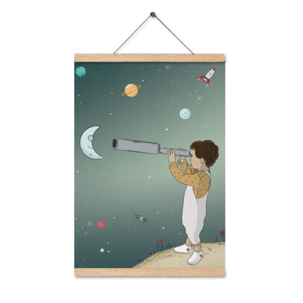 תמונה לחדר ילדים ילד עם טלסקופ
