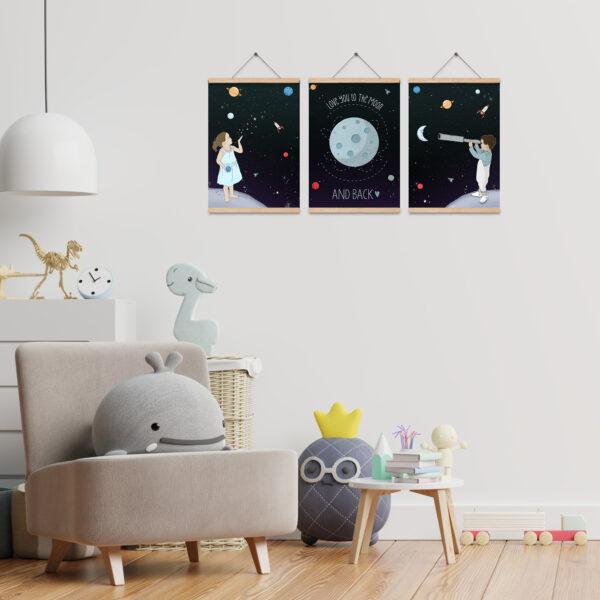 שלוש תמונות חלל לחדרי ילדים a4