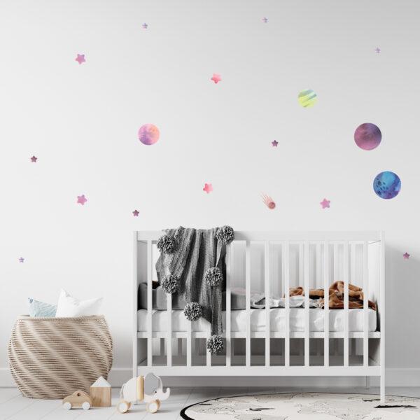 מדבקות קיר לחדרי תינוקות/ילדים- חלל בסגול זוהר בחושך