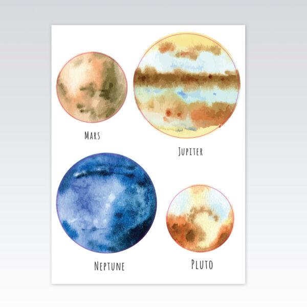 מדבקות קיר לחדרי תינוקות/ילדים- פלנטות חלל