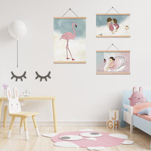 שלישית תמונות לעיצוב חדרי ילדים – חלום בורוד