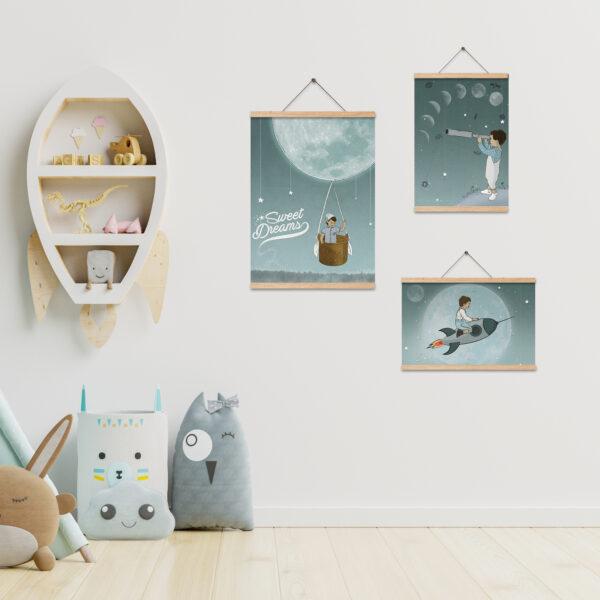 שלישית תמונות לעיצוב חדרי ילדים – מסע אל הירח