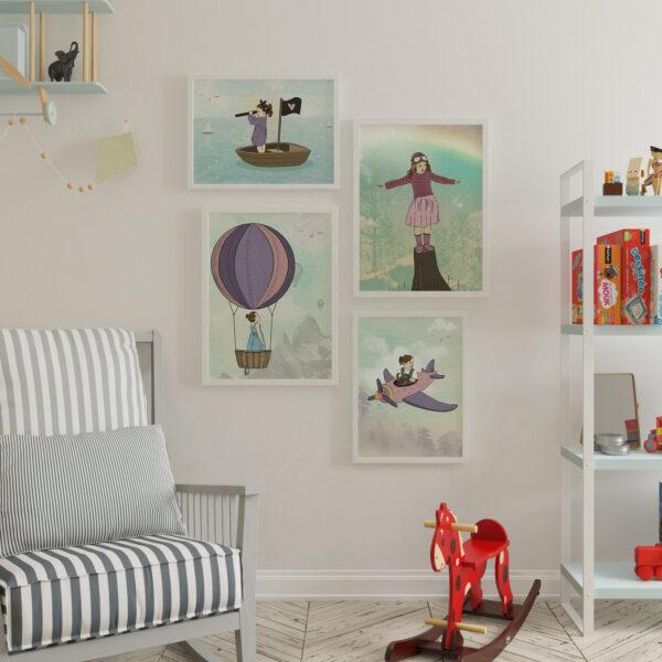 קיר גלריה הרפתקאות- עיצוב חדרי ילדים