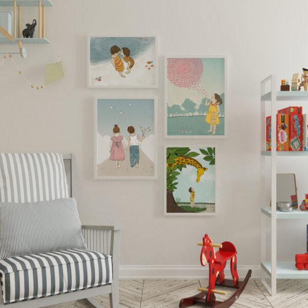 קיר גלריה בנים בנות – עיצוב חדרי ילדים