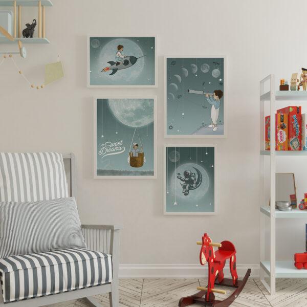 קיר גלריה ירח מלא – עיצוב חדרי ילדים