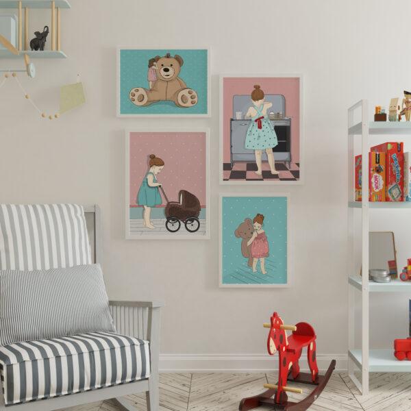קיר גלריה ילדות מתוקה – עיצוב חדרי ילדים