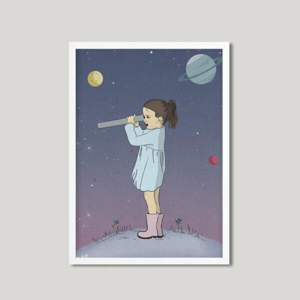 קיר גלריה חלל סגול – עיצוב חדרי ילדים