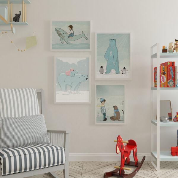קיר גלריה חורף מושלג – עיצוב חדרי ילדים