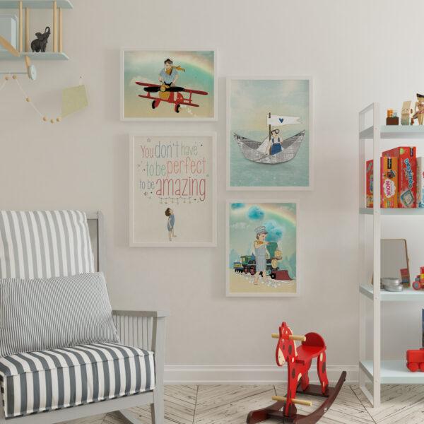 קיר גלריה כלי תחבורה - עיצוב חדרי ילדים
