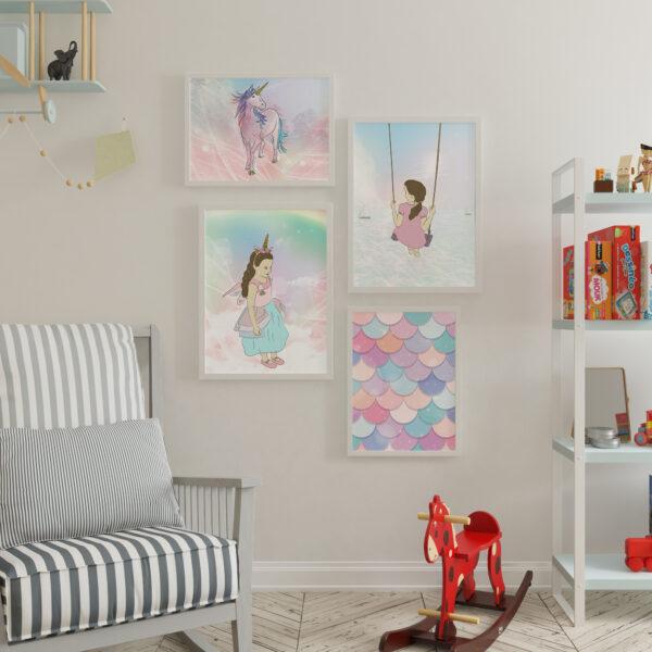 קיר גלריה אוירת חד קרן - עיצוב חדרי ילדים